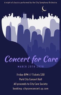 Navy Blue Concert for Care Poster Fundraiser