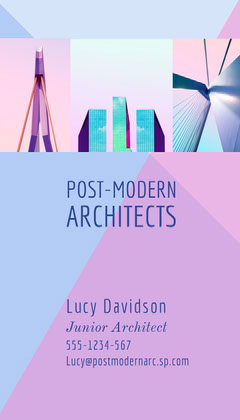 Pink and Blue Architecture Firm business Card Architecture