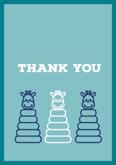 Blue and White Thank You Card Baby's First Year