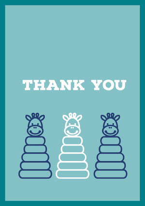 Blue and White Thank You Card Baby Shower Thank You Card