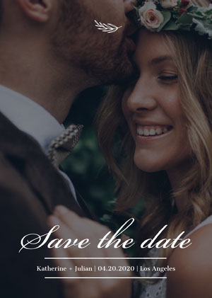 Dark Toned, White, Minimalistic Wedding Photo, Save The Date Invitation Card Save the Date