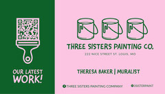 Pink and Green Business Card With QR Code Paint