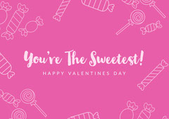 Pink and White Valentines Sweet Card Valentine's Day