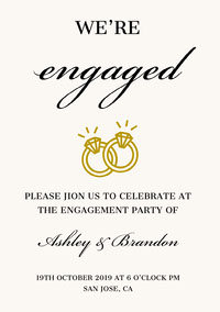Elegant Engagement Party Invitation Card with Rings Engagement Invitation