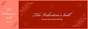 Red Elegant Calligraphy Valentines Day Raffle Ticket Billet de tombola