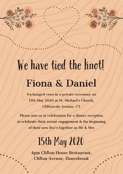 Beige Rustic Floral Heart Wedding Invitation Card Heart