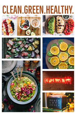 White With Healthy Food Collage Montage photo