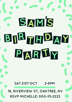 White, Green and Yellow  Birthday Party Invitation Card Confetti