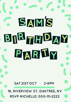 birthday invite for neutral  Confetti