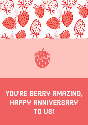 Pink and White Strawberries Graphic Anniversary Card Biglietto di anniversario