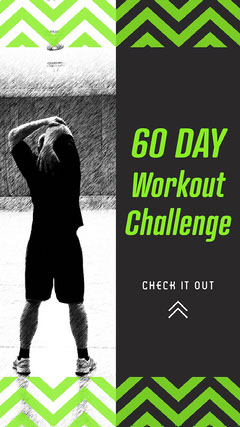 Green 60 Day Workout Challenge Instagram Story  Exercises