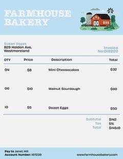 Blue Farmhouse Bakery Invoice Bakery