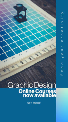 Blue Online Graphic Design Course Animated Instagram Story Educational Course