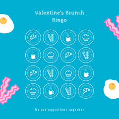 Blue Bacon and Eggs Valentines Day Party Bingo Card Brunch