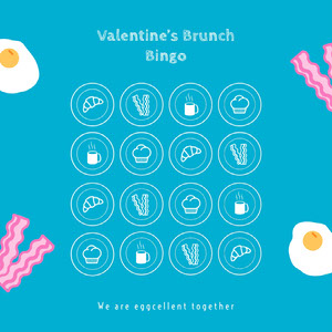 Baon and eggs Valentine's Day party bingo card Bingokarten