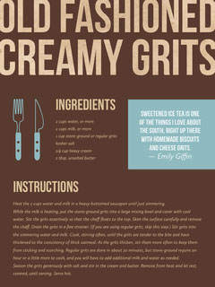 Brown Old Fashioned Creamy Grits Recipe Card Cooking