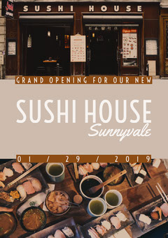 Sushi Restaurant Opening Announcement Flyer Japan