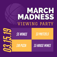 Violet and Yellow Viewing Party Social Post Basketball