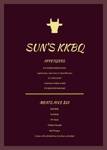 Yellow and Purple BBQ Menu BBQ Menu