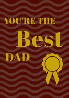 Brown and Gold Fathers Day Card with Award Ribbon Isänpäiväkortti