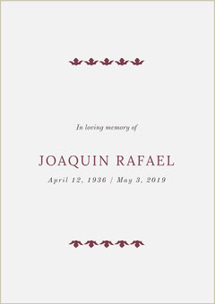 Funeral Invitation Card Rest in Peace