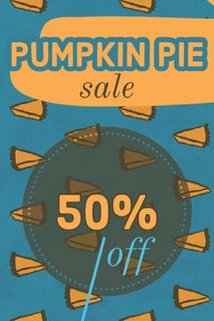 Orange and Blue Pumpkin Pie Bakery Sale Ad Flyer Autumn