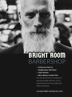 Black and White Barber Shop Ad Flyer with Bearded Man Barber