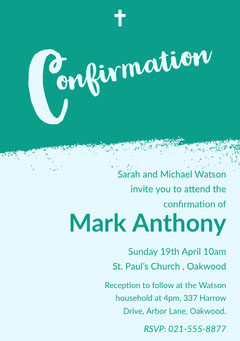 Green, Light Toned, Confirmation Invitation Card Christianity