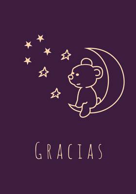 purple teddy bear thank you cards  Tarjeta de agradecimiento