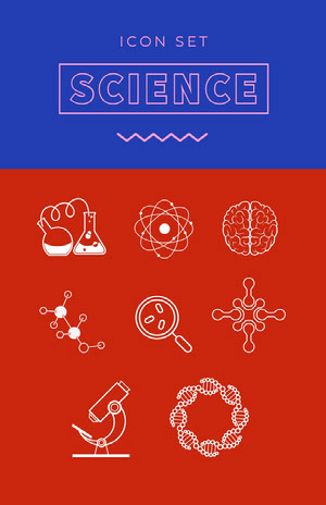 Red White and Blue Science Icon Poster Ícones gratuitos