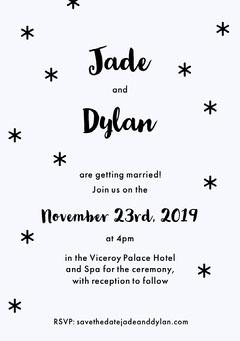 Black and White Stars Winter Wedding invitation Card  Christmas Invitation