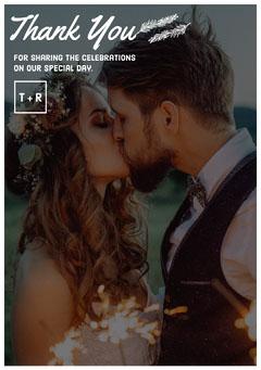 floral square frame wedding thank you card Frame