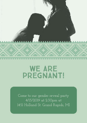 Green Pregnancy Announcement Card Pregnancy Announcement