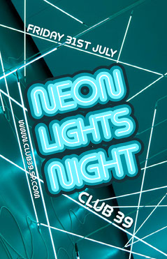 Blue Neon Lights Nightclub Poster Neon