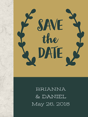 Gold and Dark Green Minimalistic Wedding Announcement 結婚通知