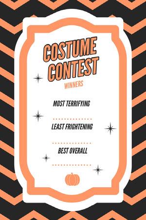 Orange Zig Zag Halloween Party Best Costume Card Halloween Party