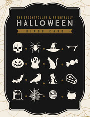 Black, White and Gold, Dark, Scary, Halloween Party Bingo Card Festa di Halloween