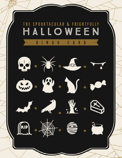 Black, White and Gold, Dark, Scary, Halloween Party Bingo Card Halloween Party Bingo Card