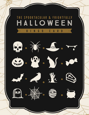 Halloween Spider Skull Party Bingo Card Bingokarten