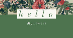 Green and White Business Card Hello