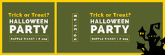 Green Haunted House Halloween Party Raffle Ticket Holiday Party Flyer