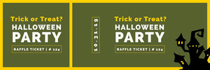 Green Haunted House Halloween Party Raffle Ticket Billet de tombola