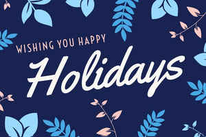 Navy Blue and White Happy Holidays Postcard 4x6 Postcard