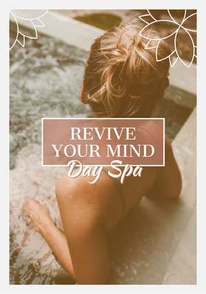 Grey & Pink Relaxing in Pool Day Spa A5 Flyer Pink Flyer