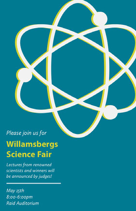 Blue and Yellow Science Fair Flyer with Atom Veranstaltungs-Flyer