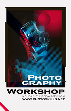 Red and Blue Camera Photo Photography Workshop Flyer Educational Course