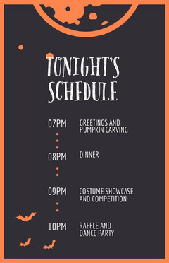 Halloween Bat Party Schedule Halloween Party Schedule