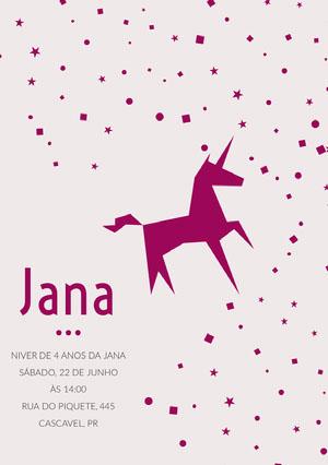pink confetti unicorn birthday cards  Convite de aniversário de unicórnio