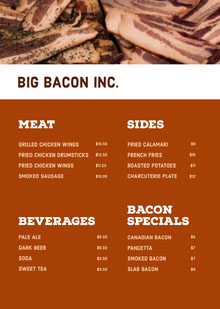 Brown and White Bar Menu BBQ Menu