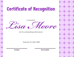 purple certificate of recognition Certificate of Recognition